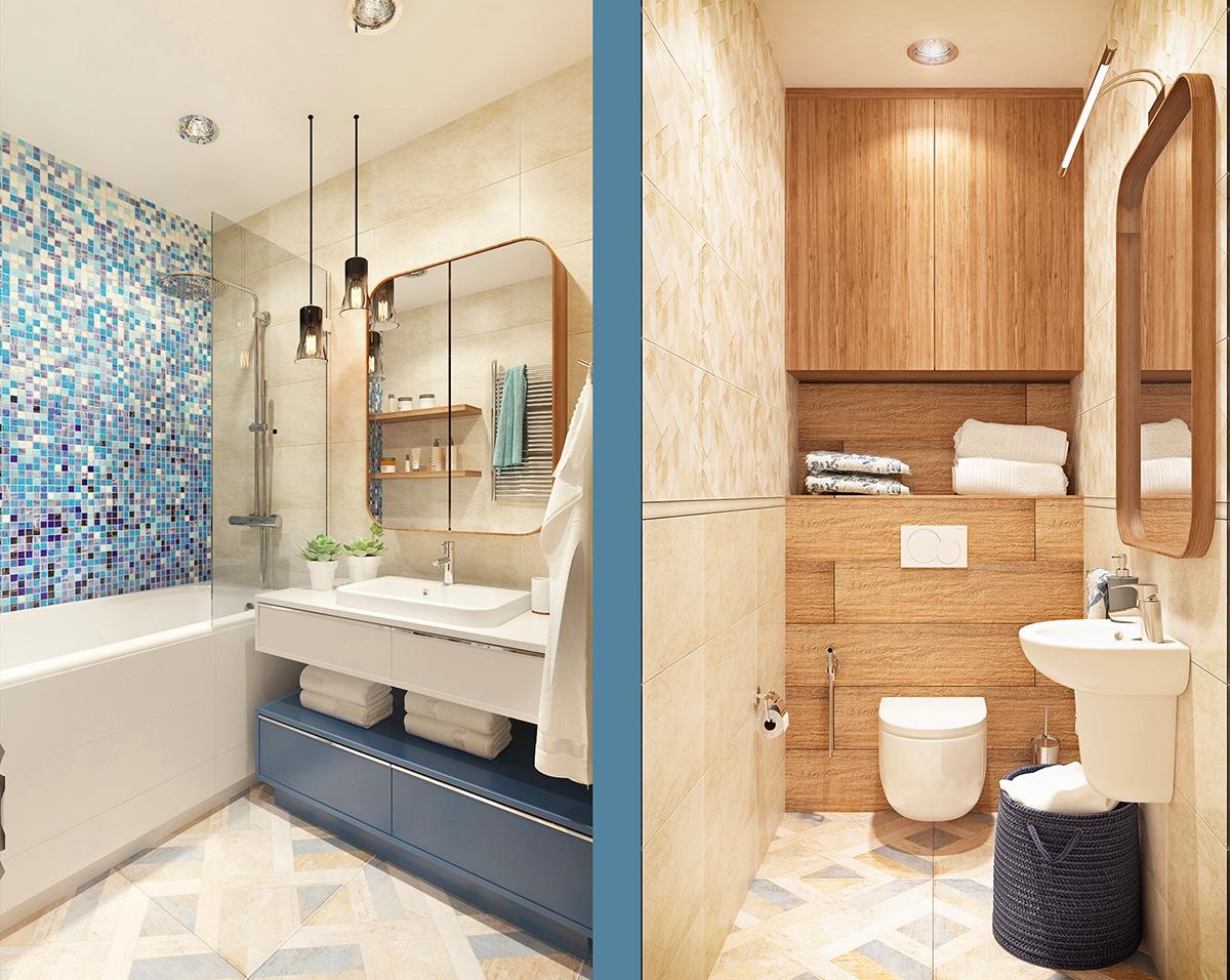 bathroom blue tile mural design