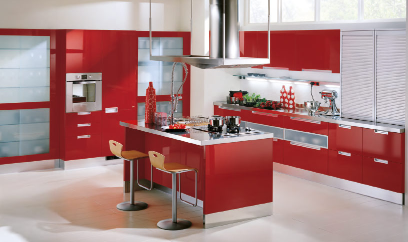 red kitchen design idea