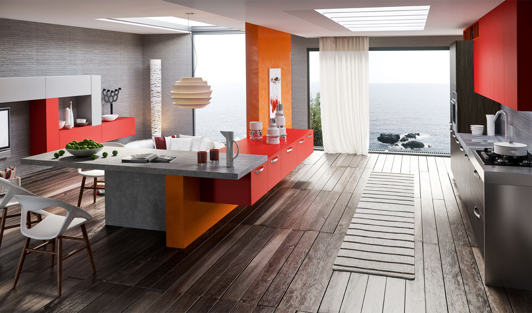 Red orange gray kitchen decor
