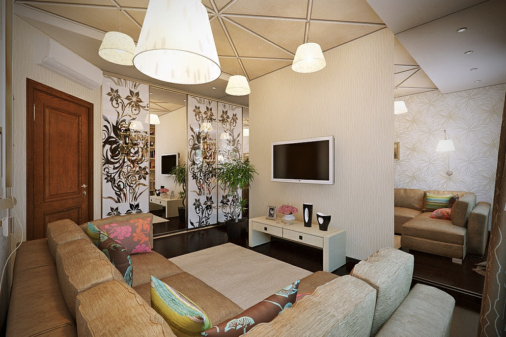 living room design with wall decor
