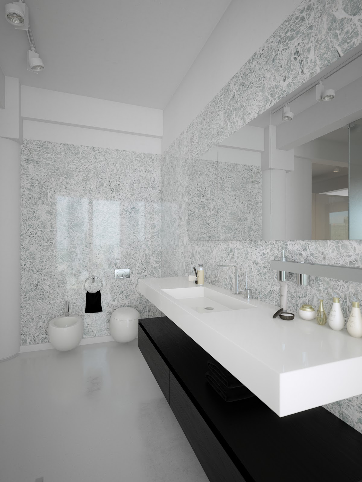 Trendy bathroom design ideas combined with white color for Trendy bathroom ideas