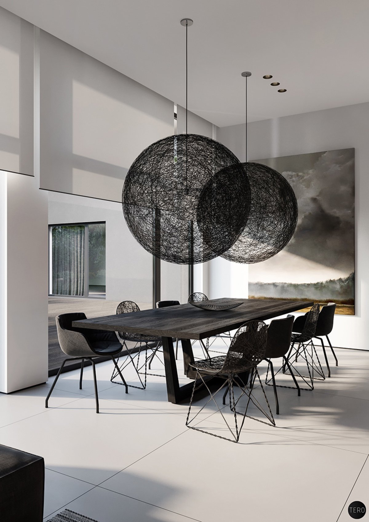 modern black dining room design