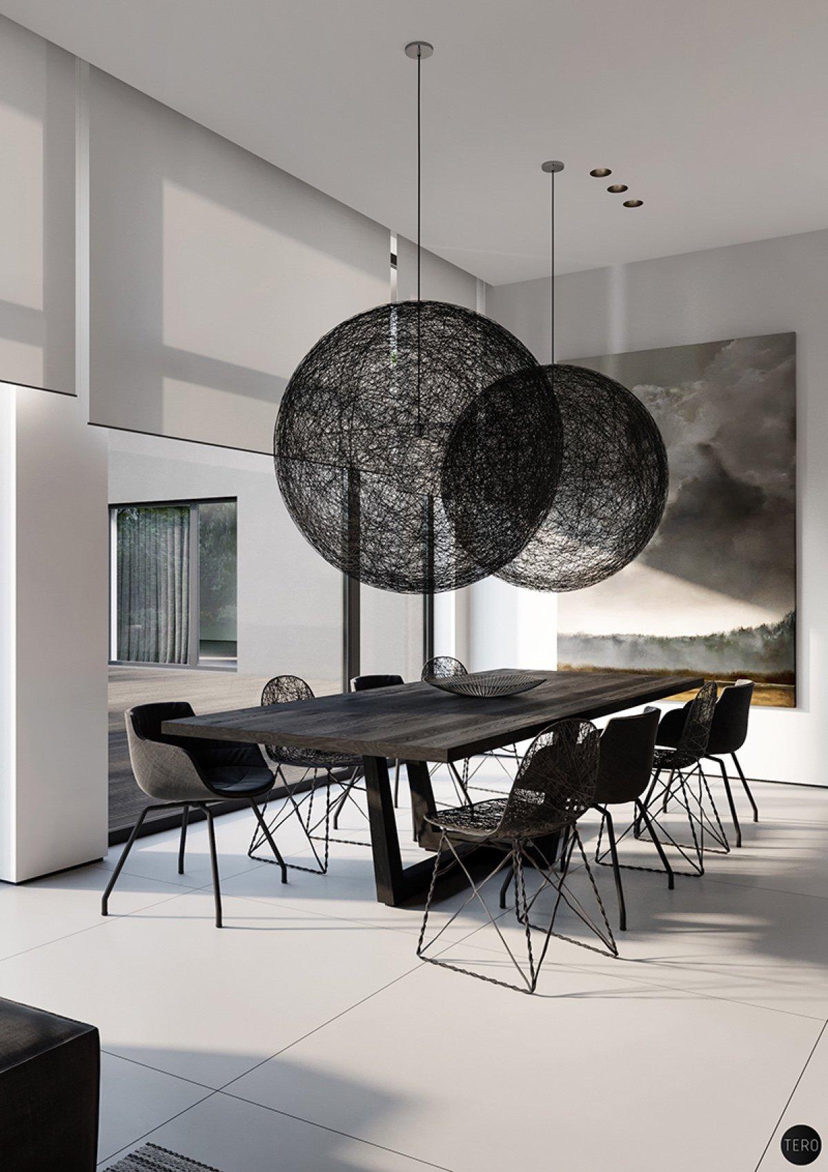 modern black dining room design