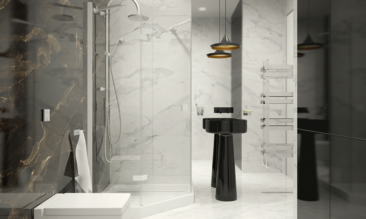 Decorating Dark and White Bathroom Ideas With a Cool Design Which ...