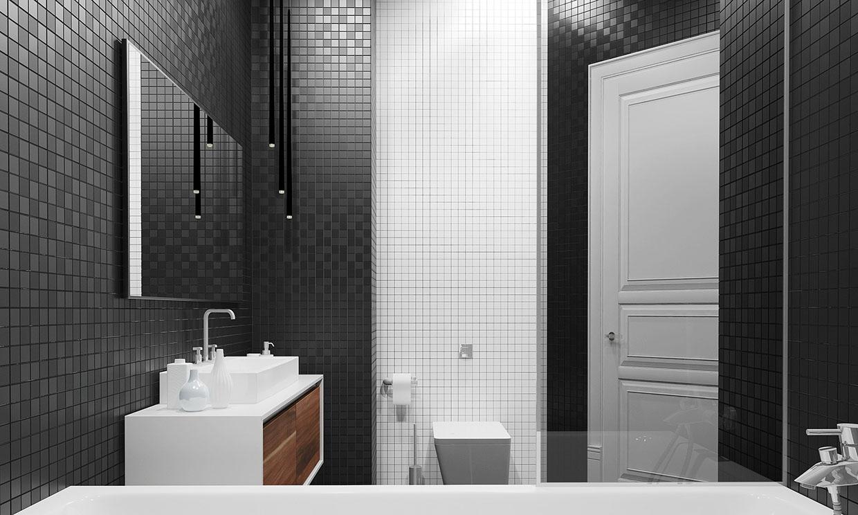 dark and white tile bathroom