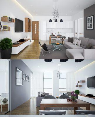 trendy open plan living room