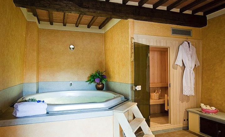 Tuscan style bathroom large bath