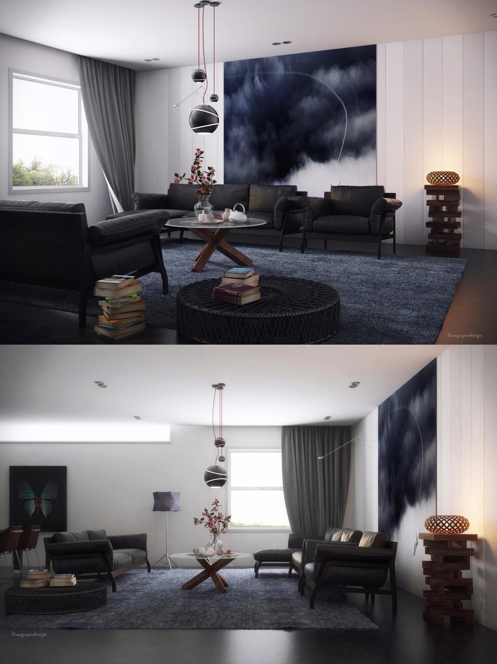 spacious gray living room design