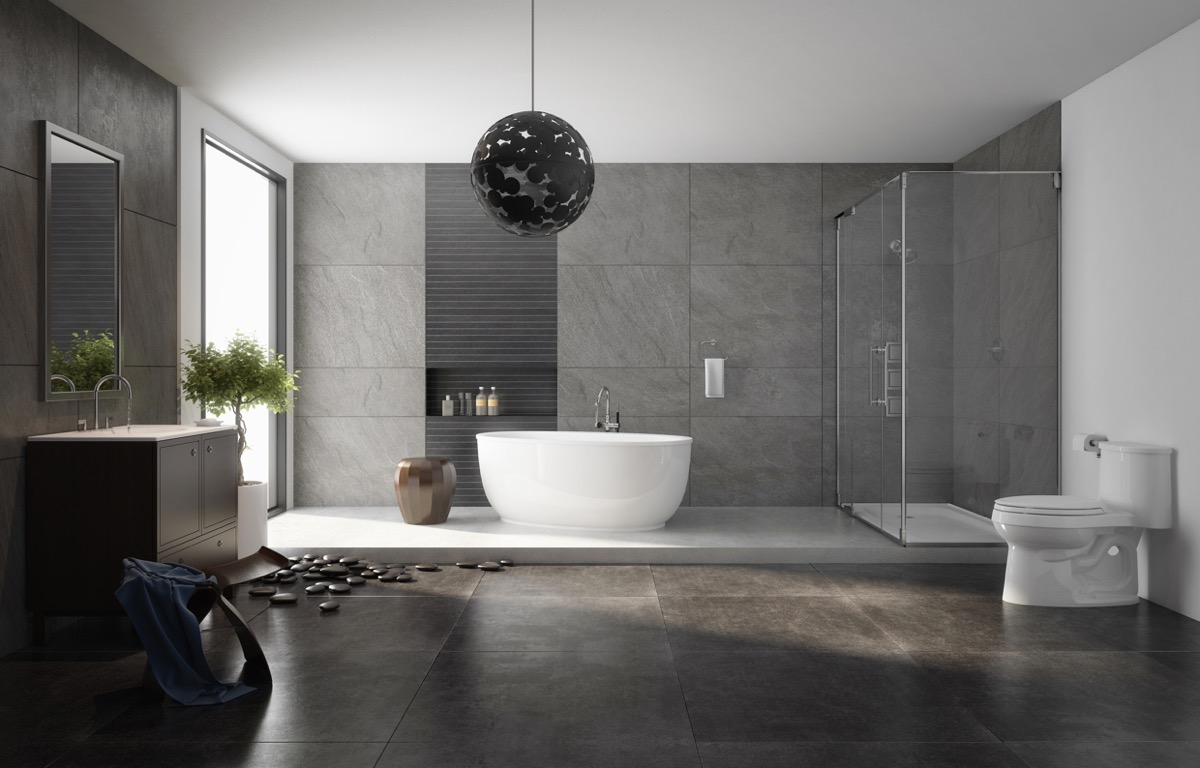 white and gray attractive bathroom