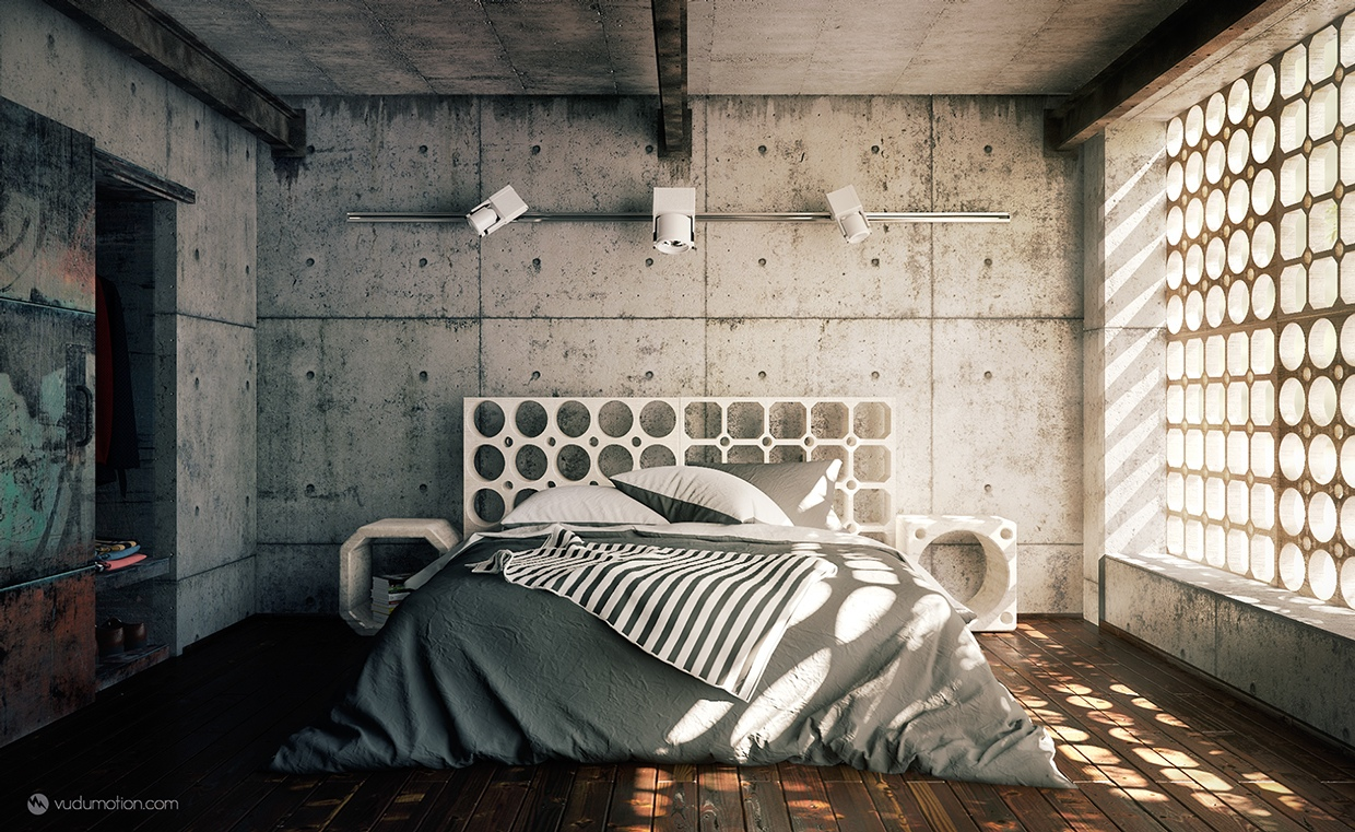 modern bedroom design with concrete decor
