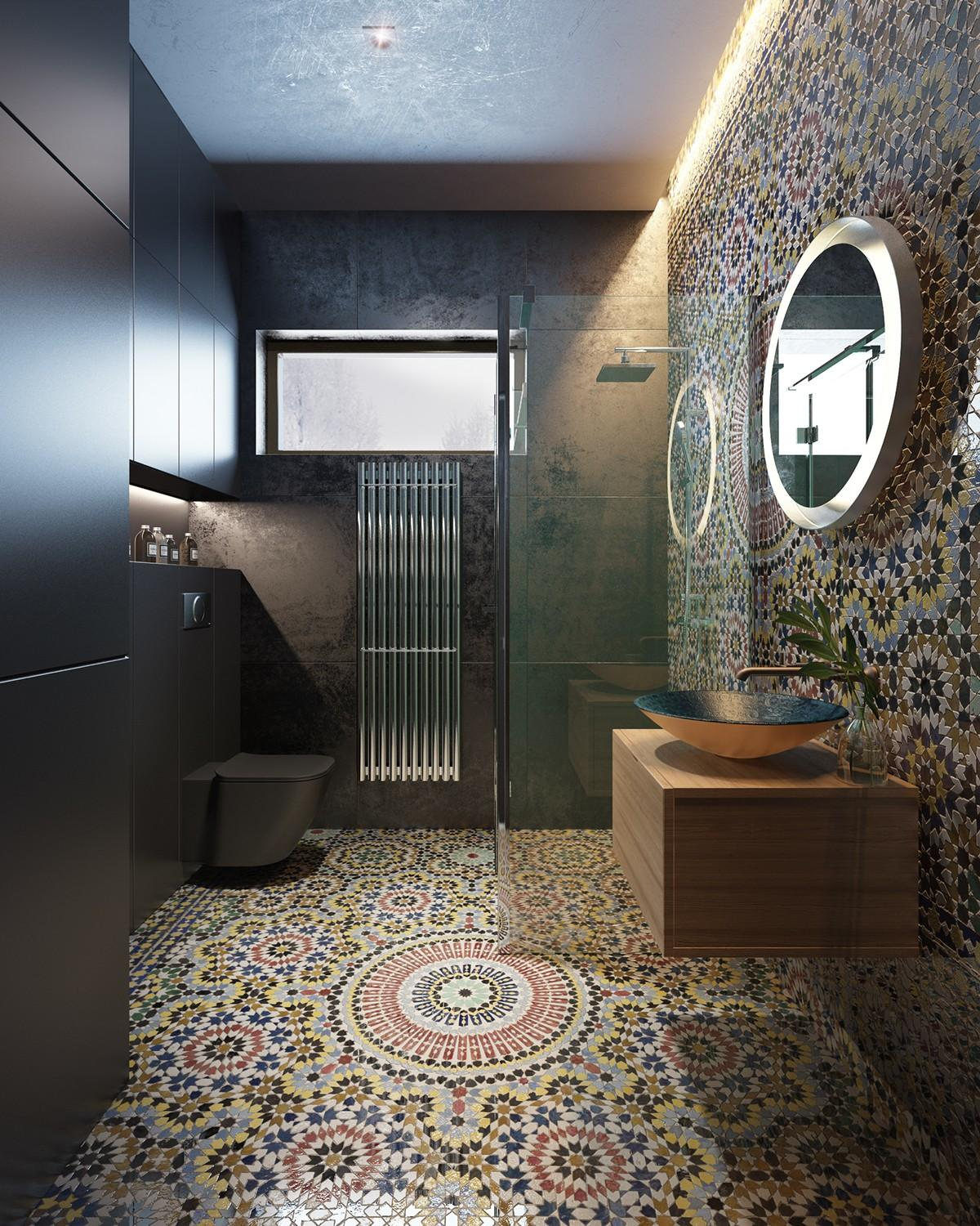 amazing bathroom with moroccan tile