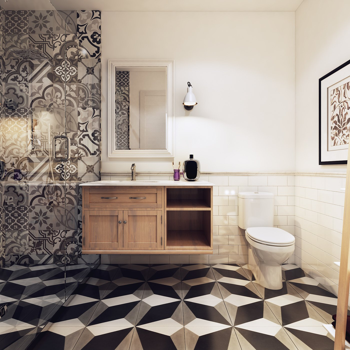awesome geometric bathroom