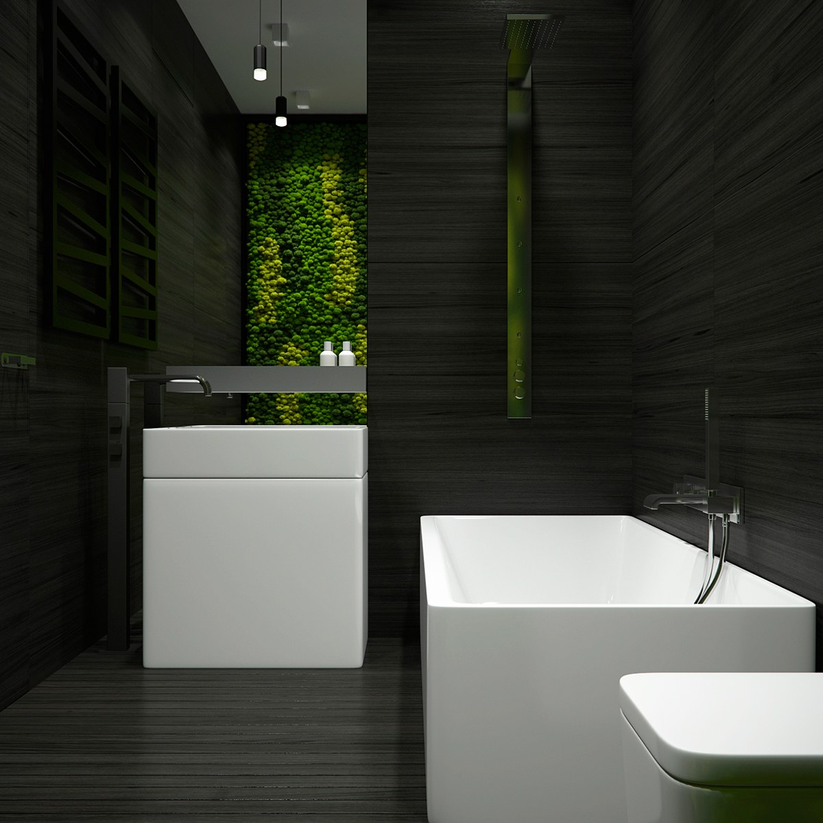 Decorating Dark And White Bathroom Ideas With A Cool Design Which Brings A Masculine Impression