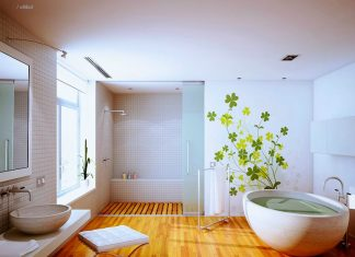 bathroom with wooden floor