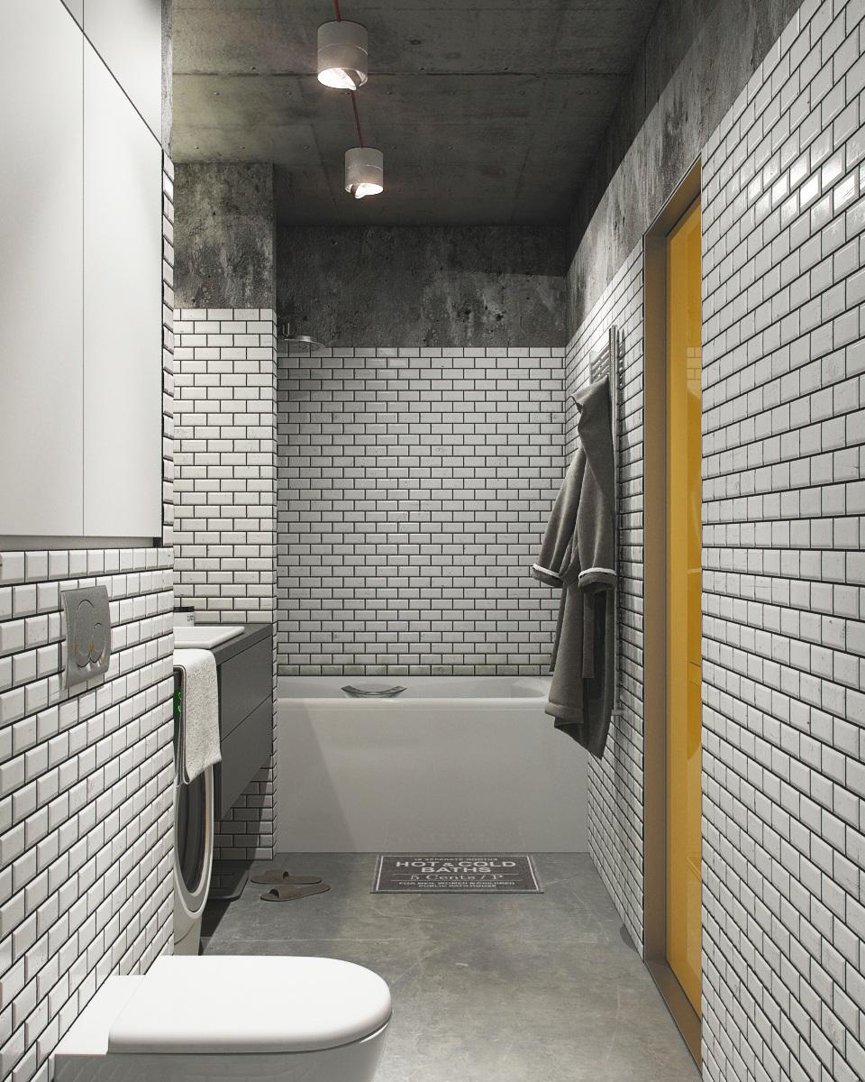 white brick wall bathroom design