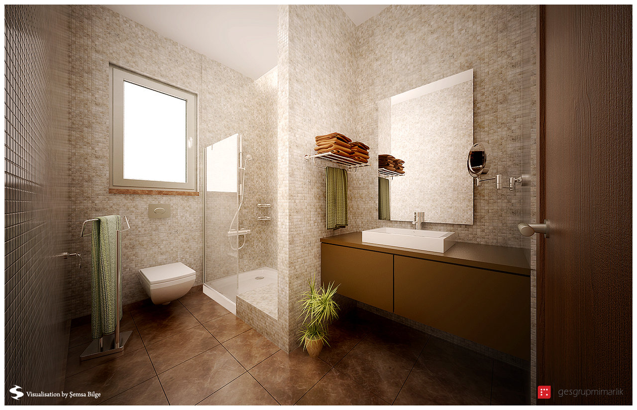 brown and beige bathroom