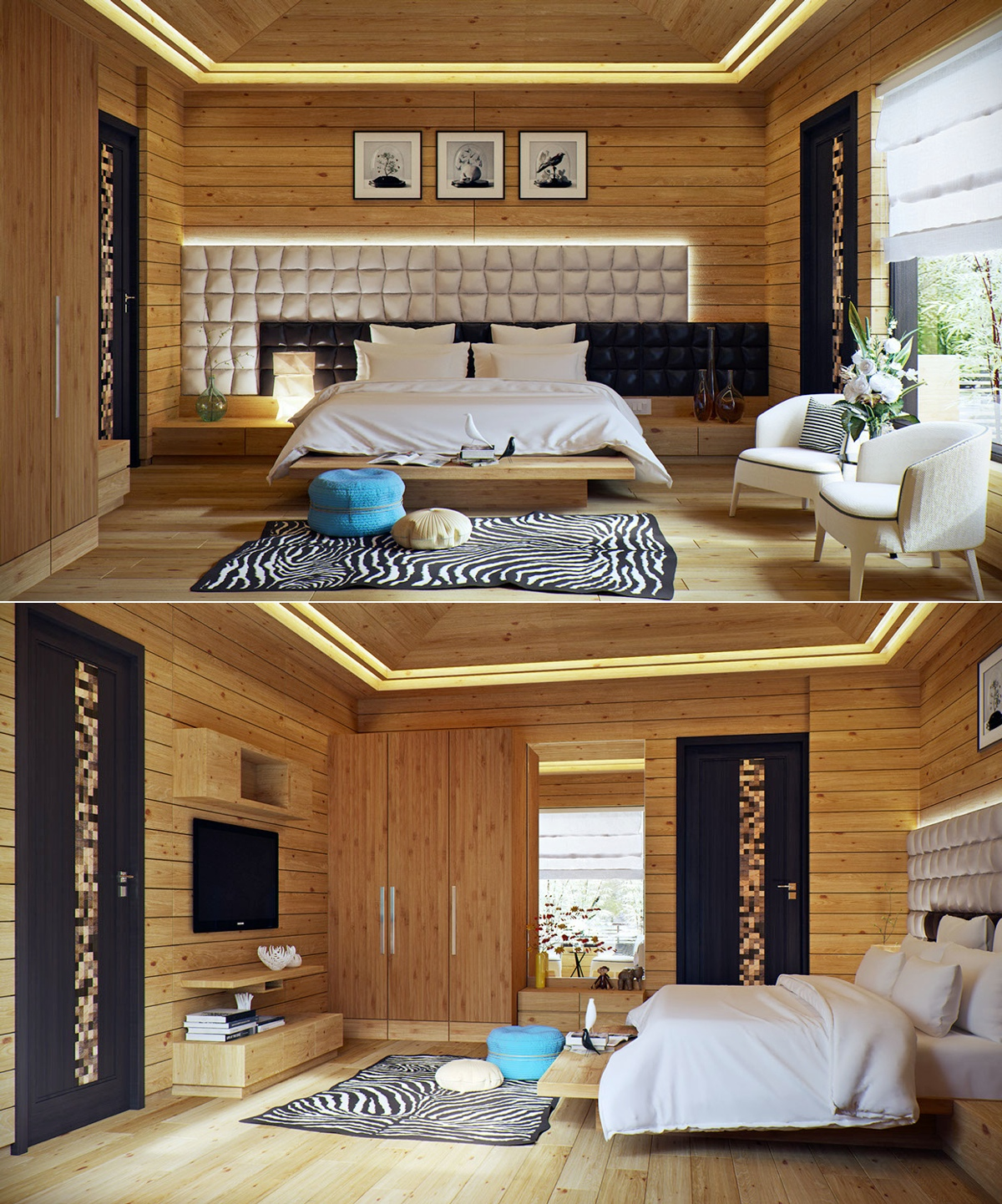 A variety of gorgeous bedroom designs with trendy wooden for Cozy cottage home designs