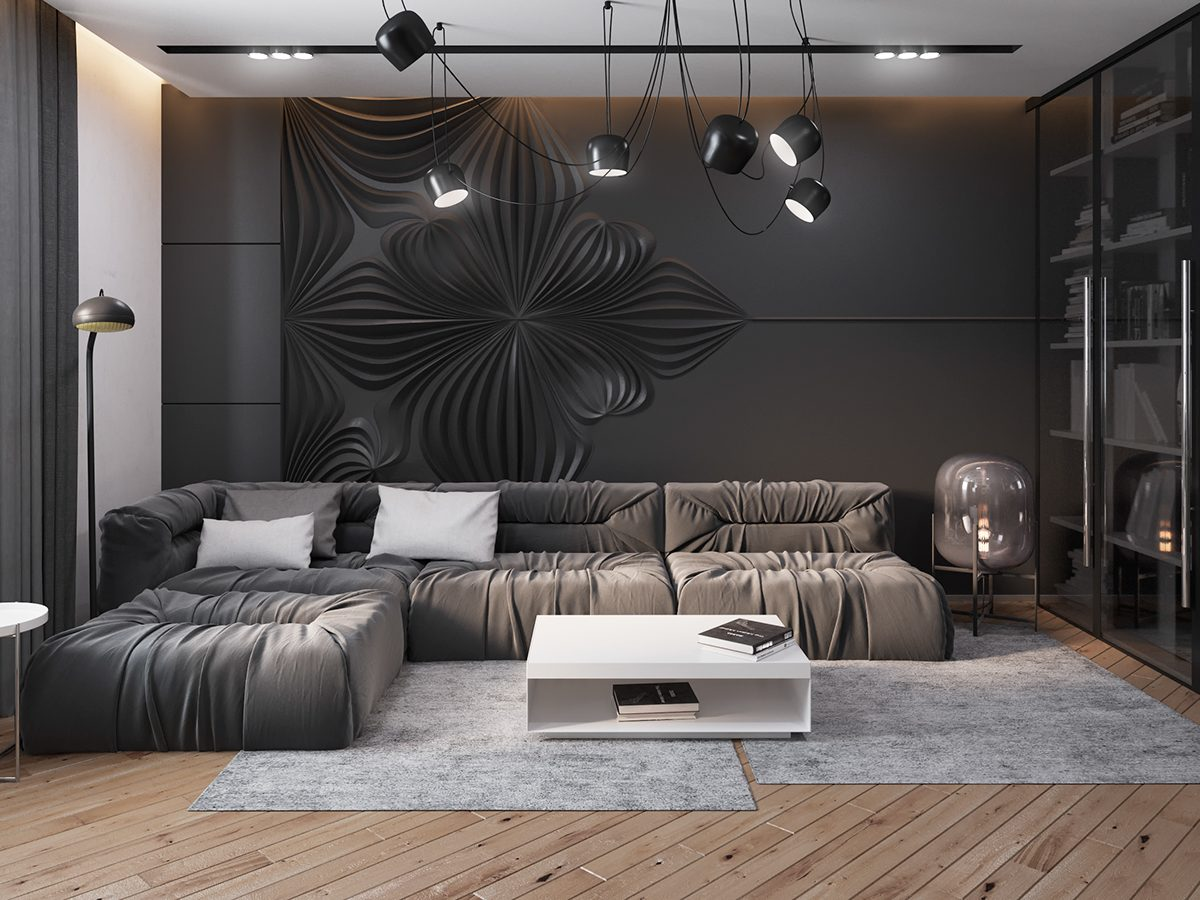 Dark living room home design for Living room wall ideas