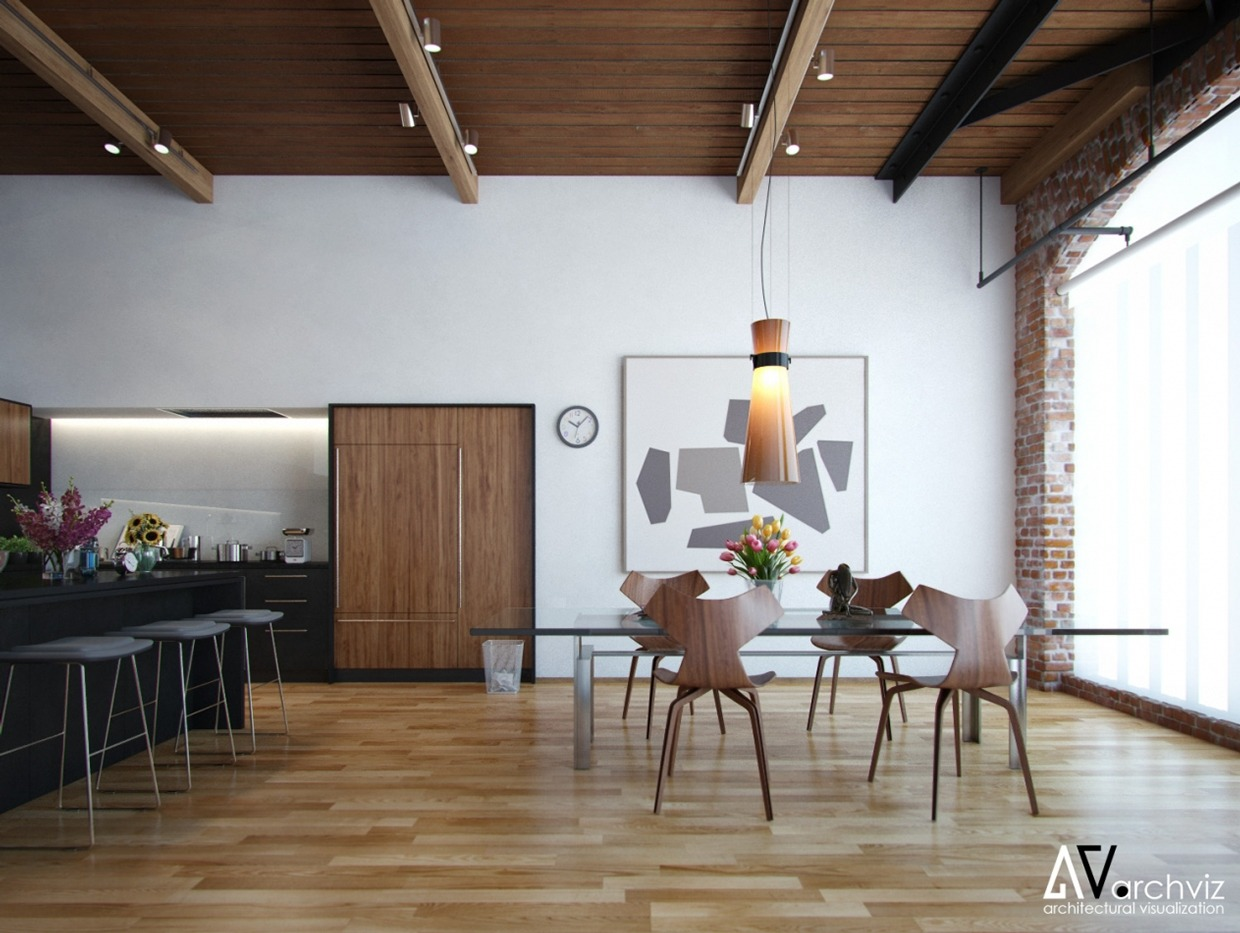 Vic Nguyen Exposed Wood Beam Dining Room