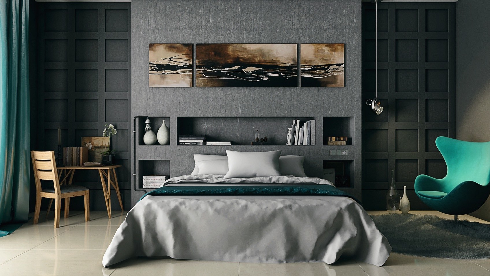 gray and wooden bedroom