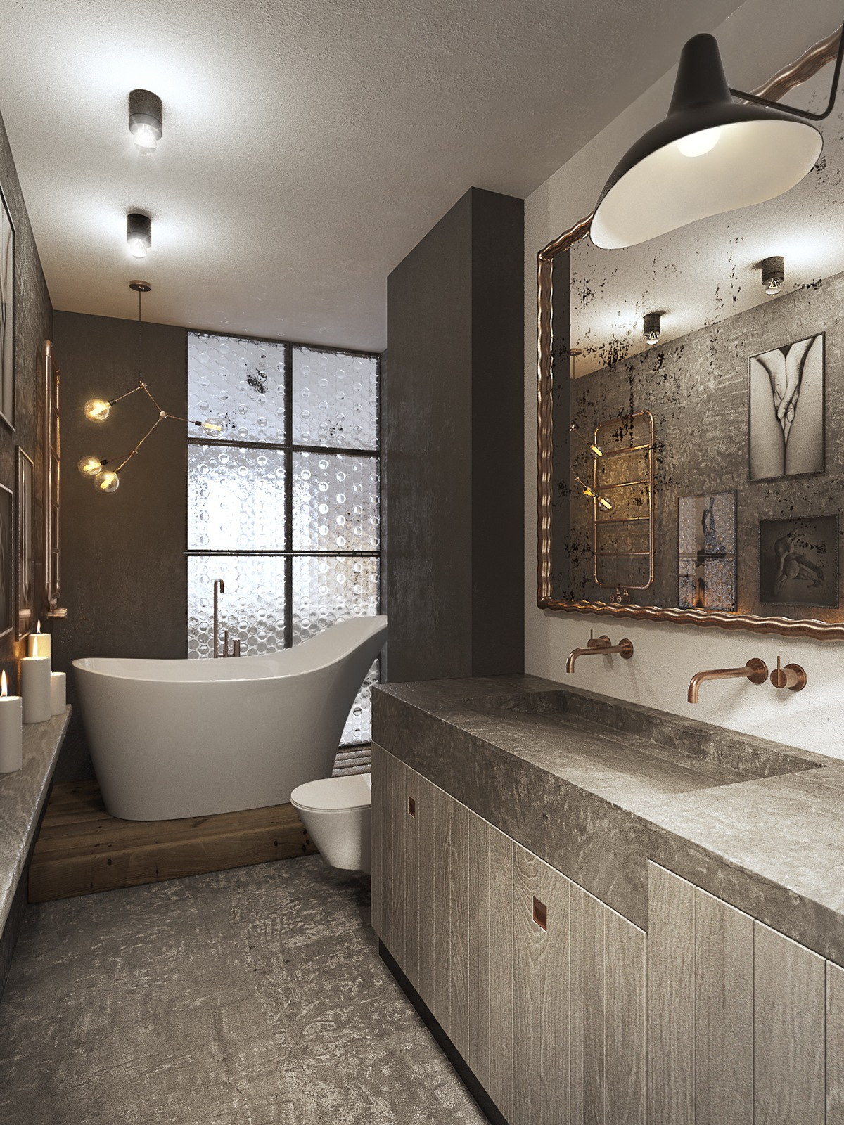 Minimalist bathroom designs looks so trendy with backsplash and wooden accent decoration - Bathroom design studio ...