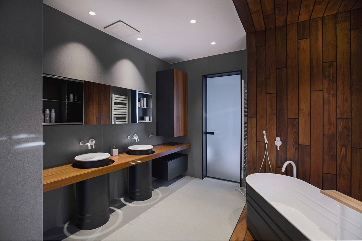 simple wooden bathroom design