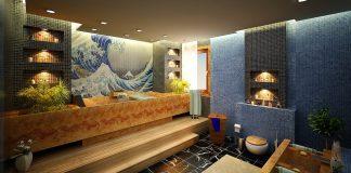 beautiful print tiled bathroom © Daymon