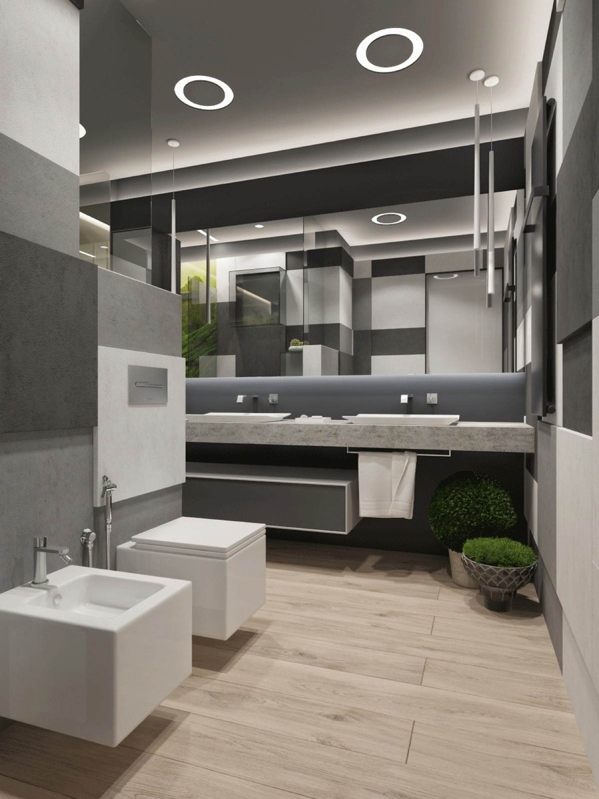 contemporary wooden bathroom