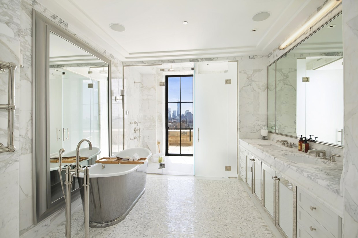marble and metal bathroom