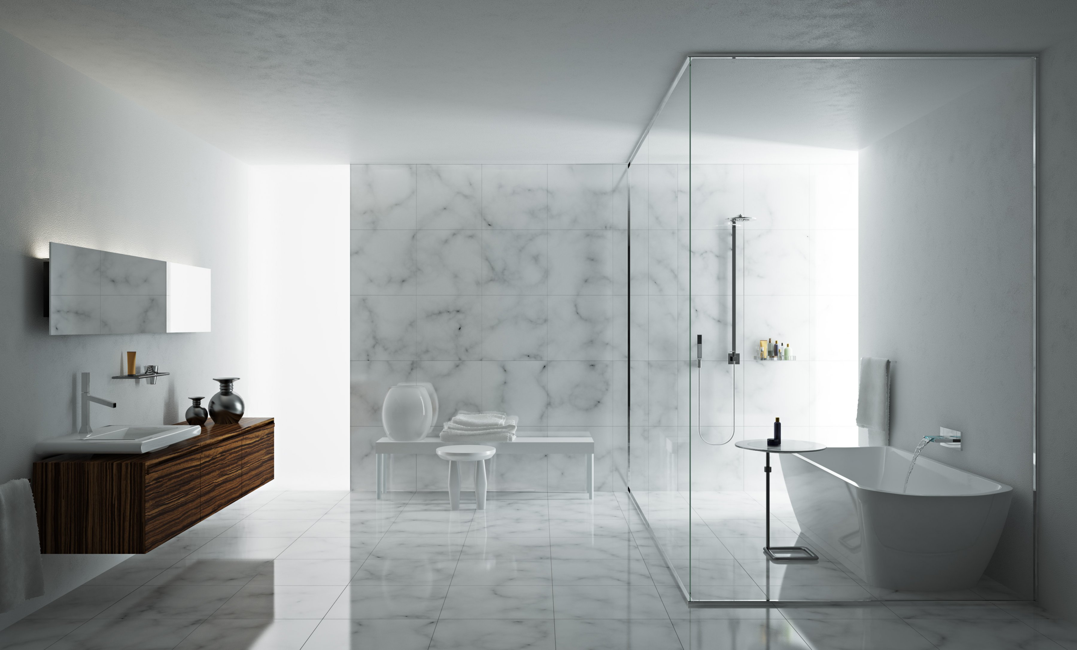 Beautiful modern bathrooms - Toscoquattro Minimalist Marble Bathroom