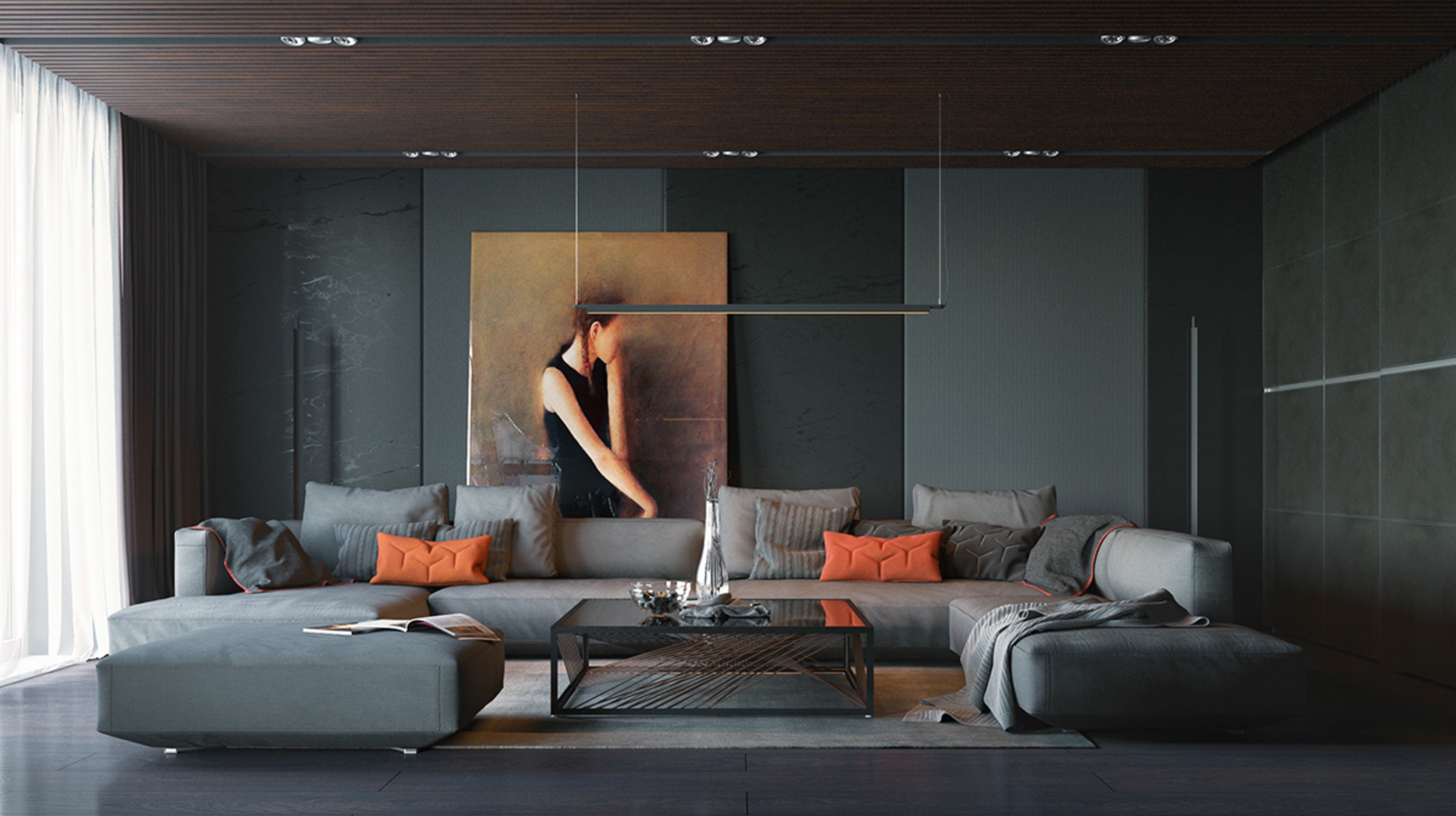 orange and black artwork living room
