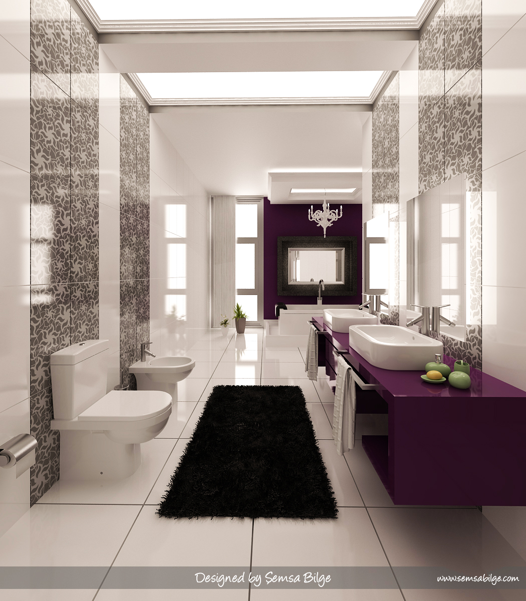 purple black and white bathroom