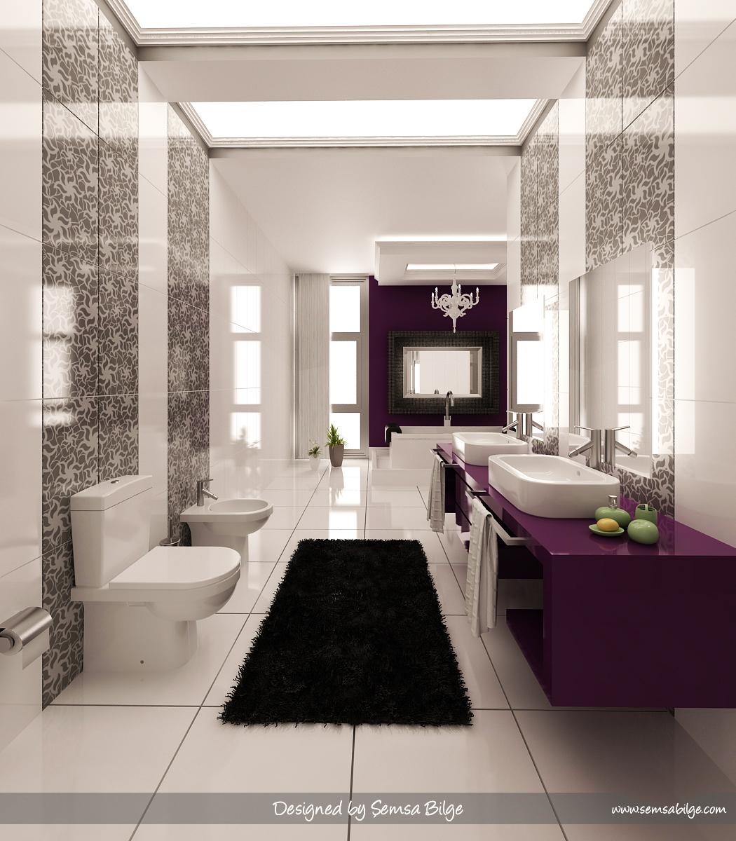 purple black and white bathroom
