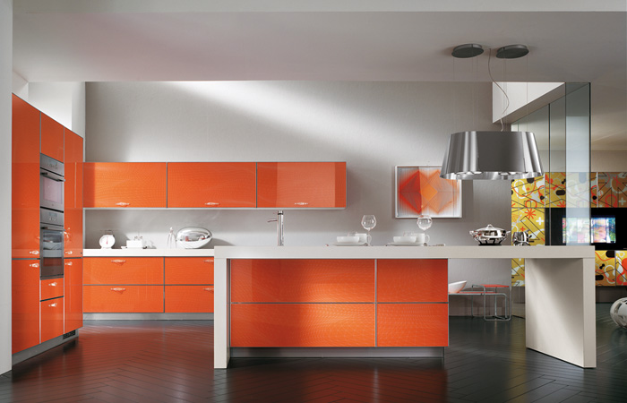 orange kitchen wood tile