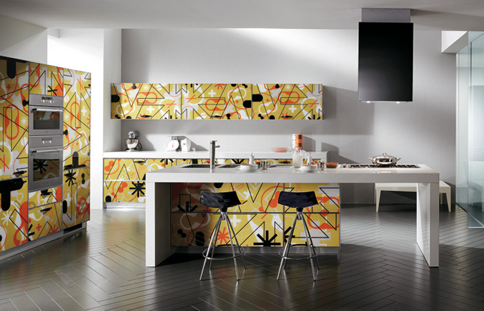 yellow graphic print kitchen design