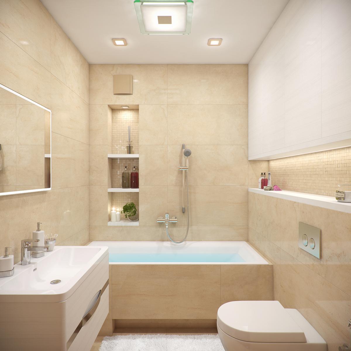 beige tiled bathroom