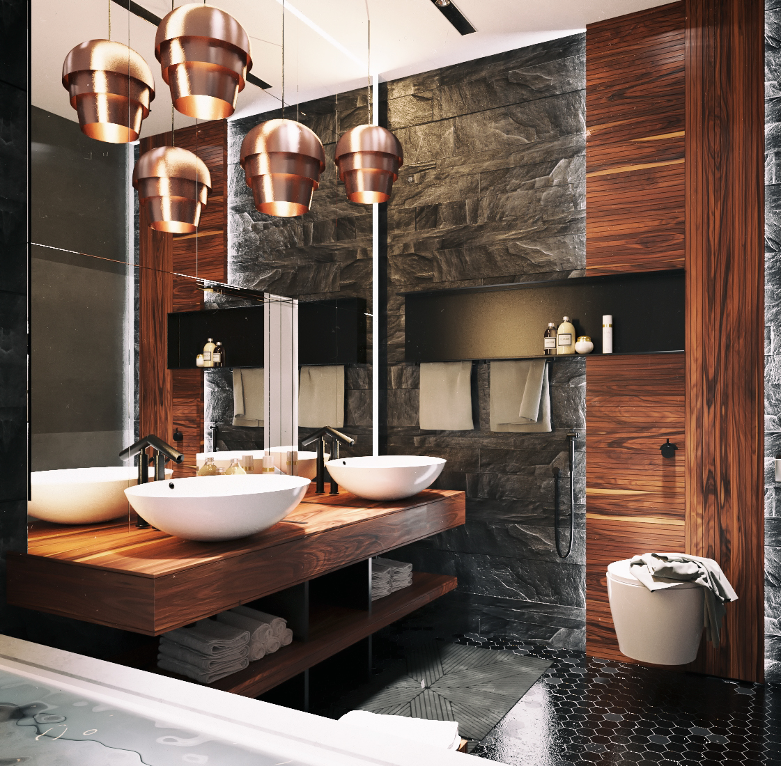 modern ultra masculine bathroom