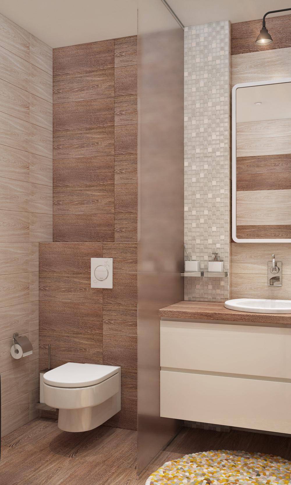 wood backsplash bathroom