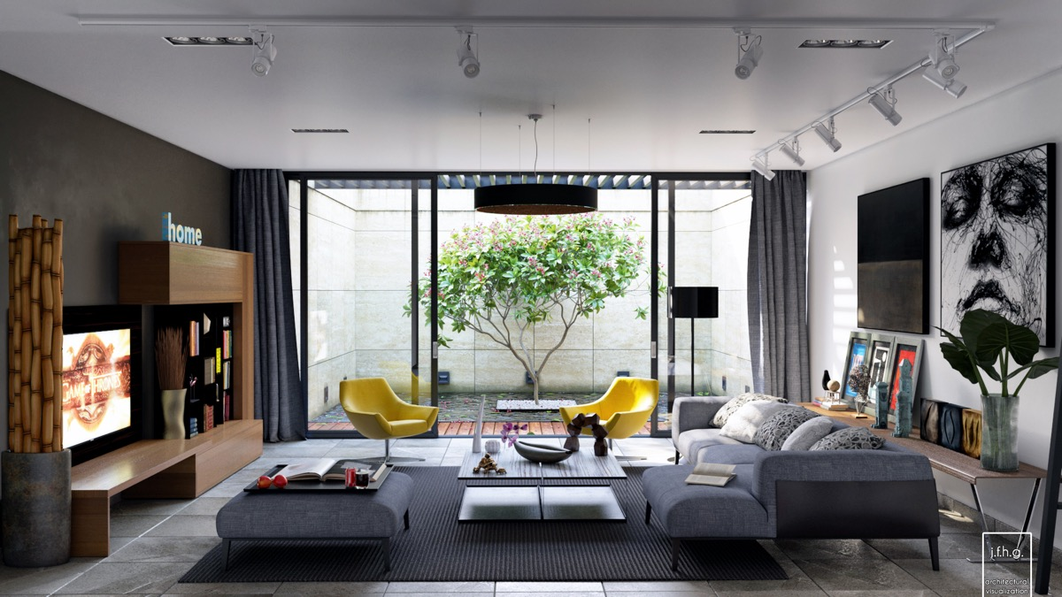 gray living room with natural decor