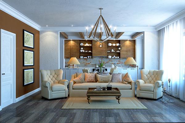 white wooden living room