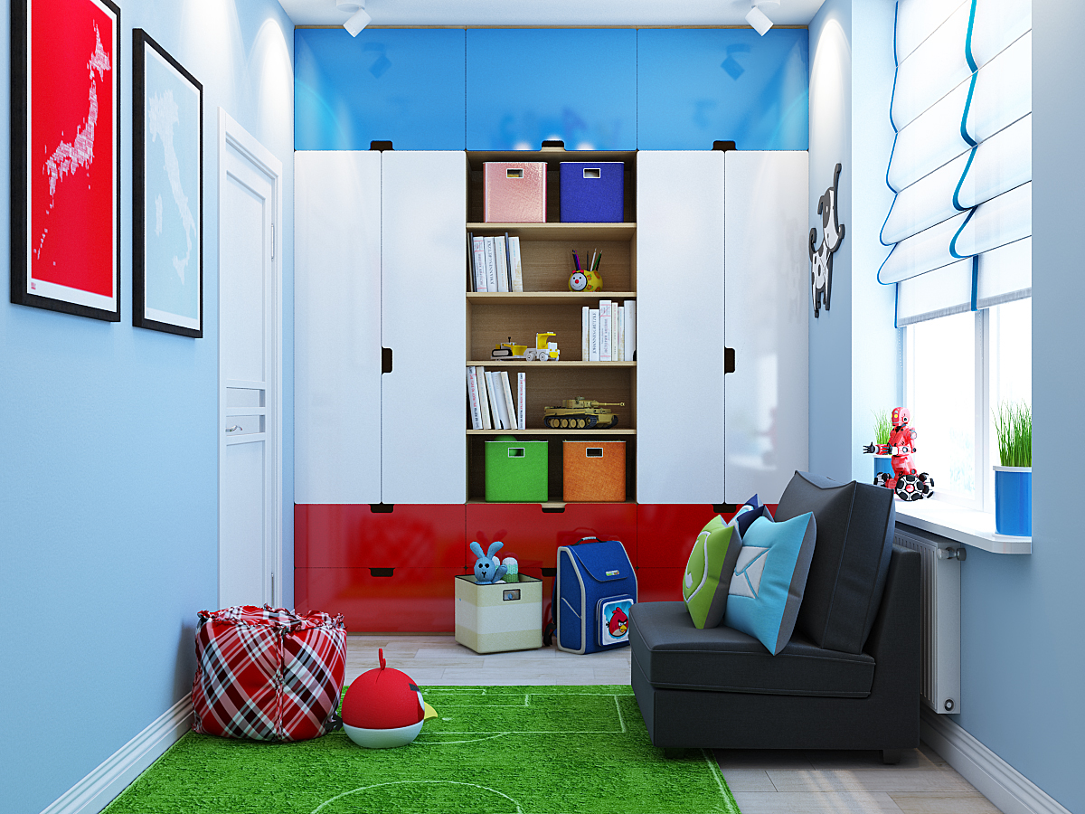 kids room exposed a brick wall