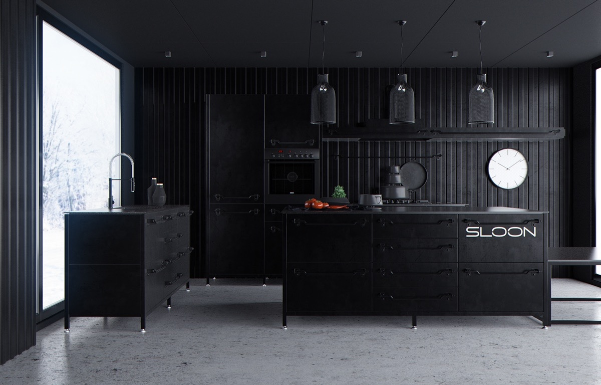 small luxury dark kitchen