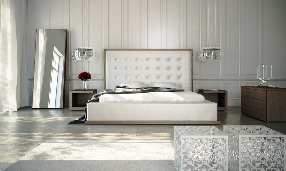 white spacious contemporary bedroom