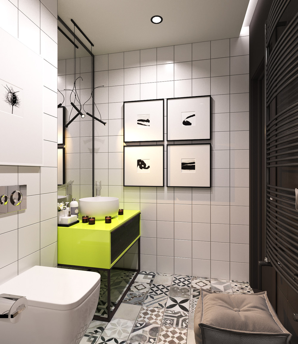 white and green minimalist bathroom