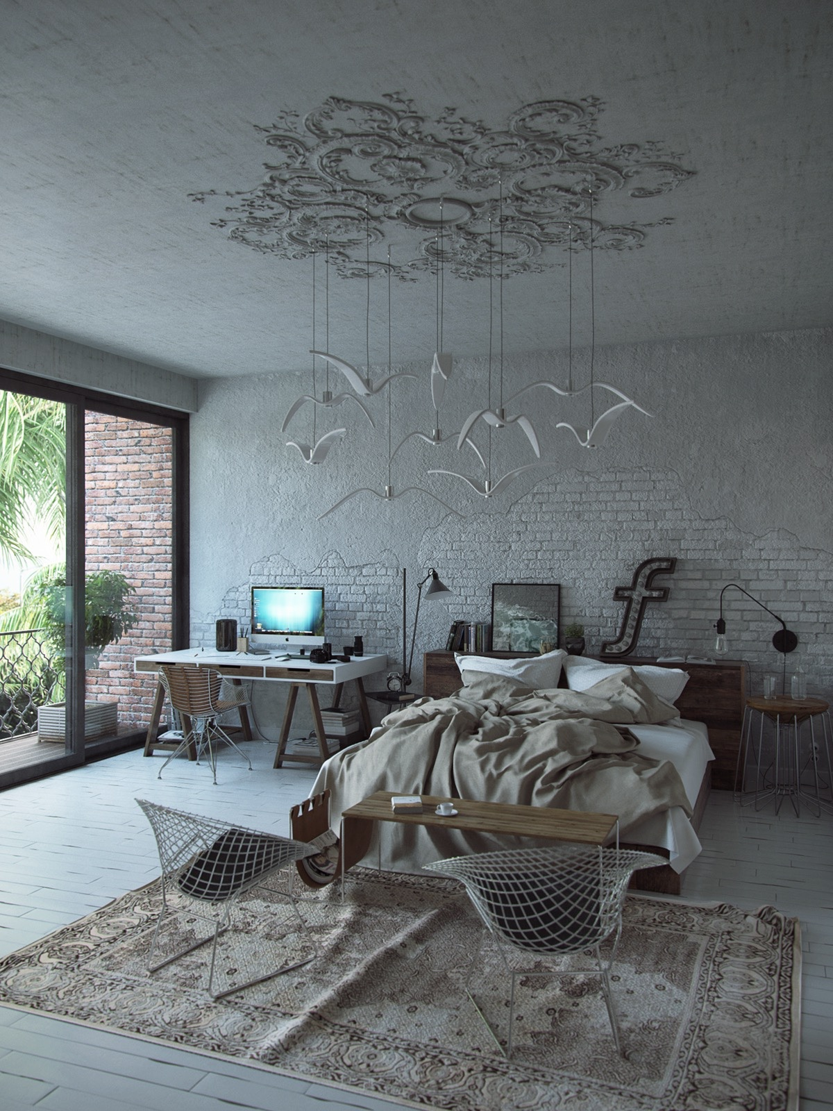 decorating white modern bedroom