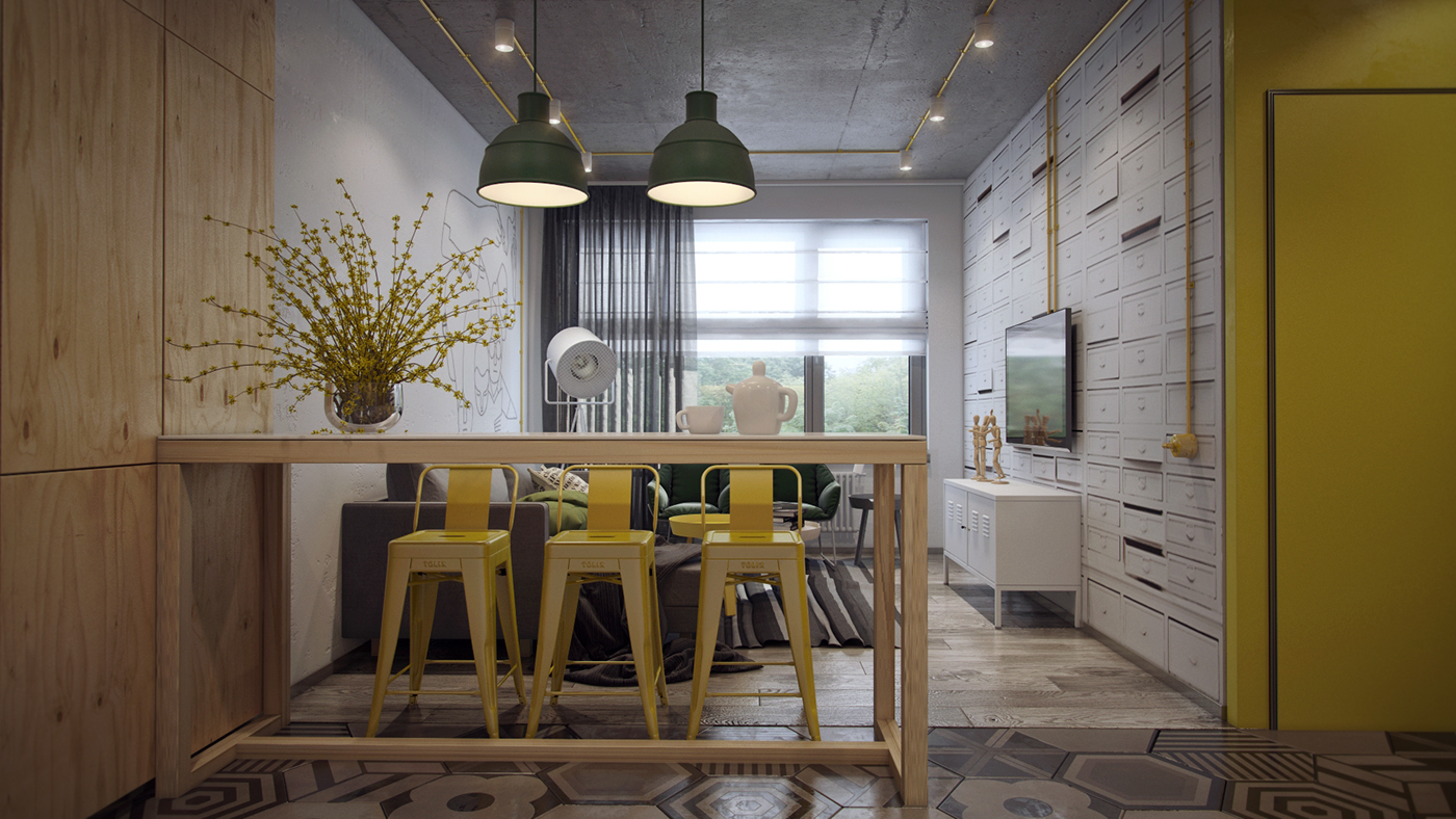 yellow and wooden dining room