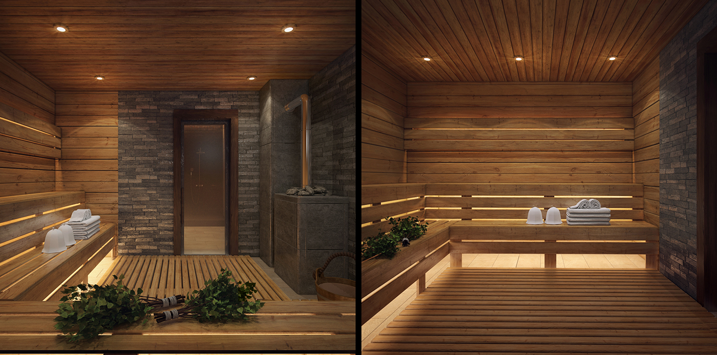 wooden spa room design
