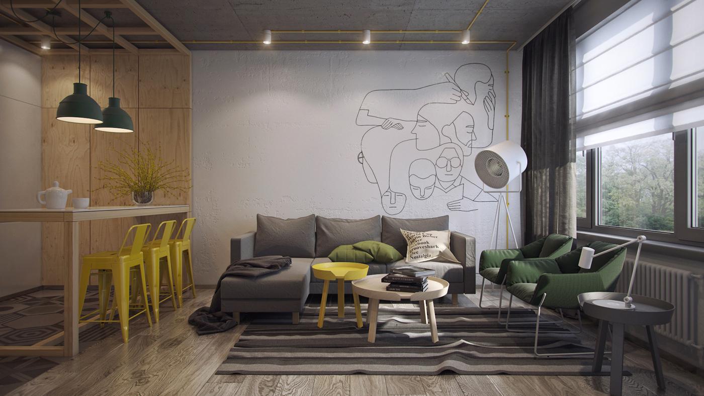gray minimalist living room design
