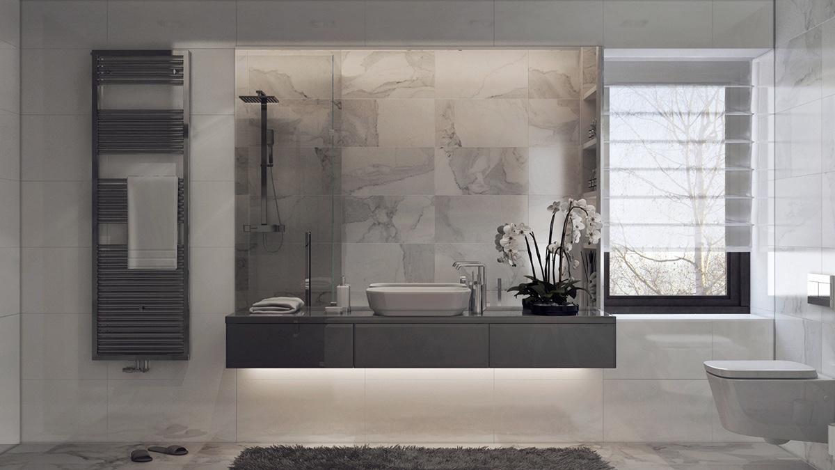 gray tile marble wall design