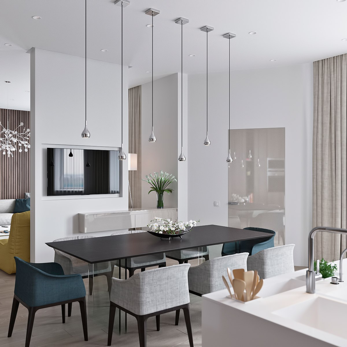 modern dining with bulb lighting